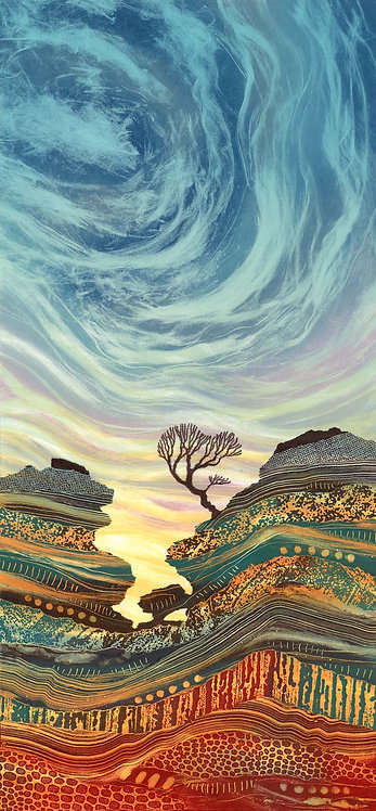 On the Edge greetings card Rebecca Vincent Brimham rocks yorkshire lone tree