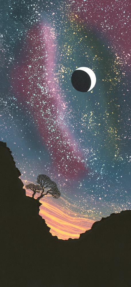 Night Sky painting by Rebecca Vincent crescent moon stars trees on craggy hillside