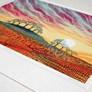 Daybreak mounted print by UK landscape art Rebecca Vincent limited edition trees dawn sunrise patterns
