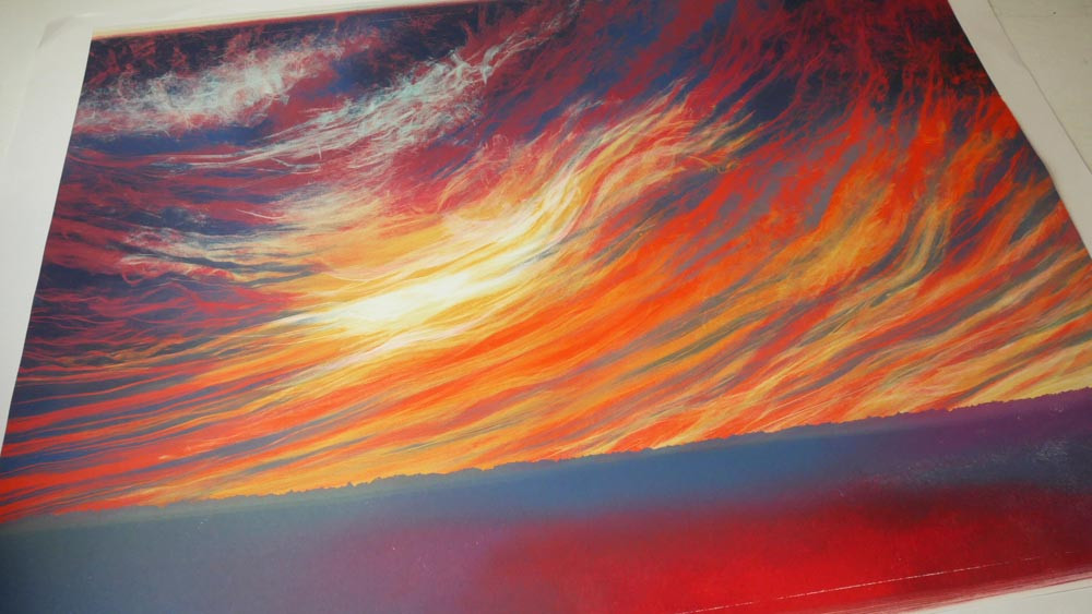 Rebecca Vincent detail sunset sky monotype
