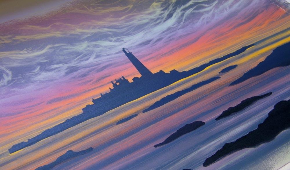 St Mary's Island sunrise detail Rebecca Vincent art