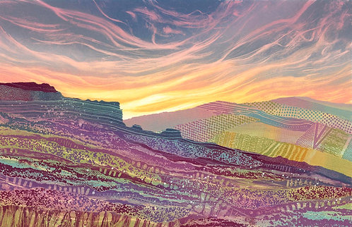 Veil of Sunrise original painting by artist Rebecca Vincent Yorkshire North York Moors