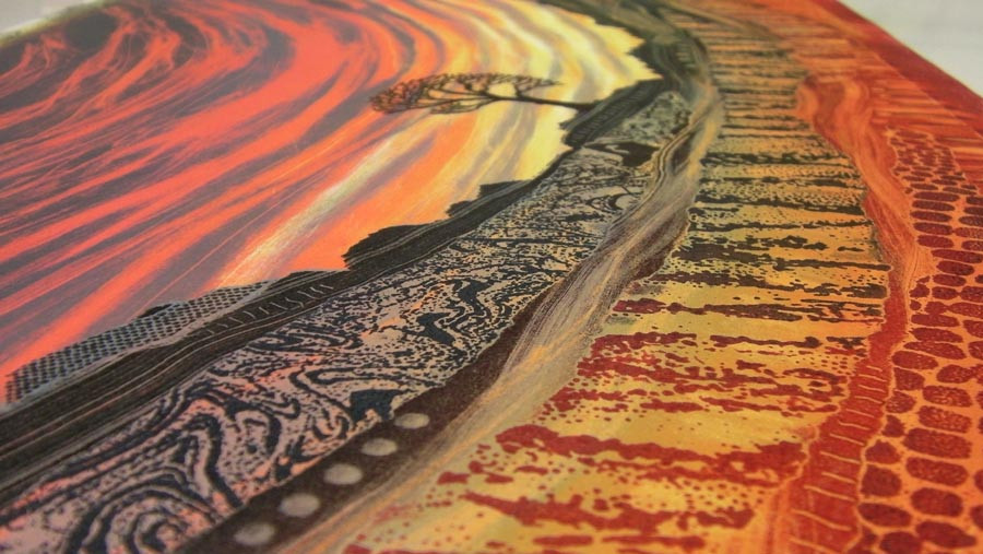 Red sunset sky monotype landscape painting by Rebecca Vincent