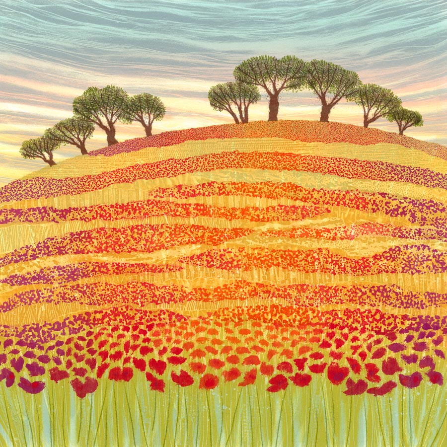 Poppy field meadow landscape painting Northumberland artist Rebecca Vincent red patterns