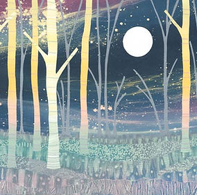 Woodland silver birch painting by UK Northumberland landscape artist Rebecca Vincent print moon stars woodland forest