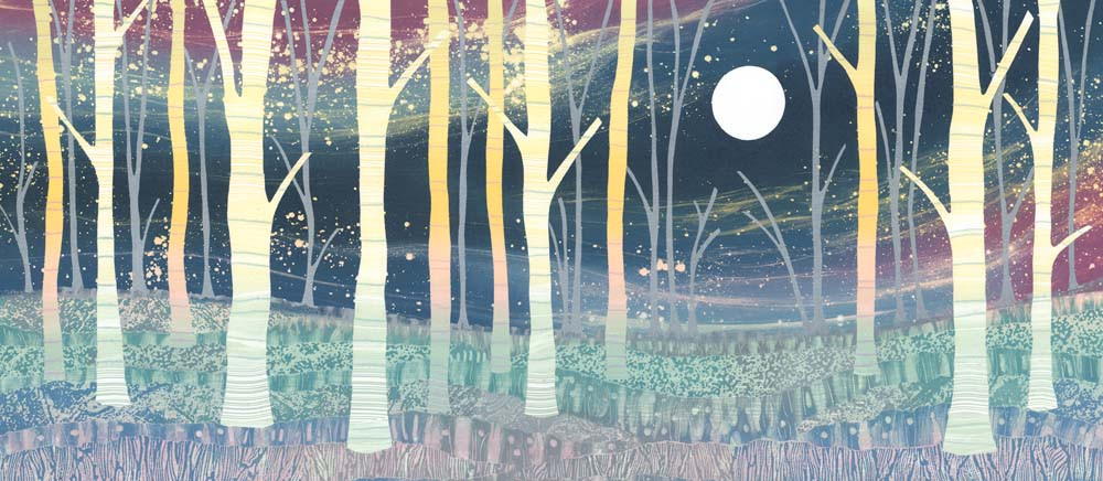 In the Moonlight canvas print by Northumberland artist Rebecca Vincent forest scene