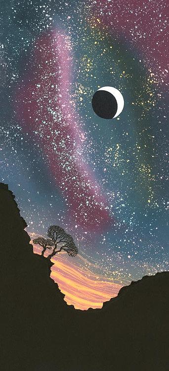 Crescent Moon painting Rebecca Vincent trees black blue purple moonlight shadow