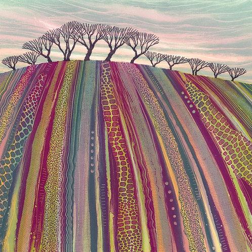 Plowed field landscape art purple green trees winter UK artist Rebecca Vincent