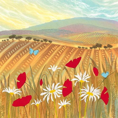 Summer Blues original monotype painting Rebecca Vincent poppies daisies blue butterflies fields english