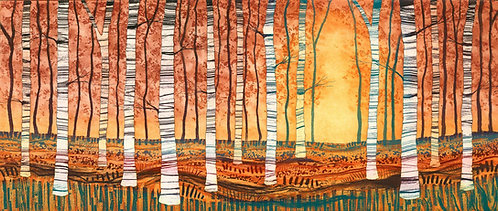 Silver Birch Autumn Gold etching by UK Northumberland landscape artist printmaker Rebecca Vincent silver birch trees woodland