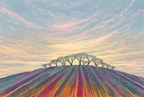 Meeting point landscape painting Northumberland hill with trees ploughed field magenta orange