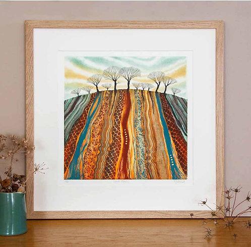 Land Marks etching framed