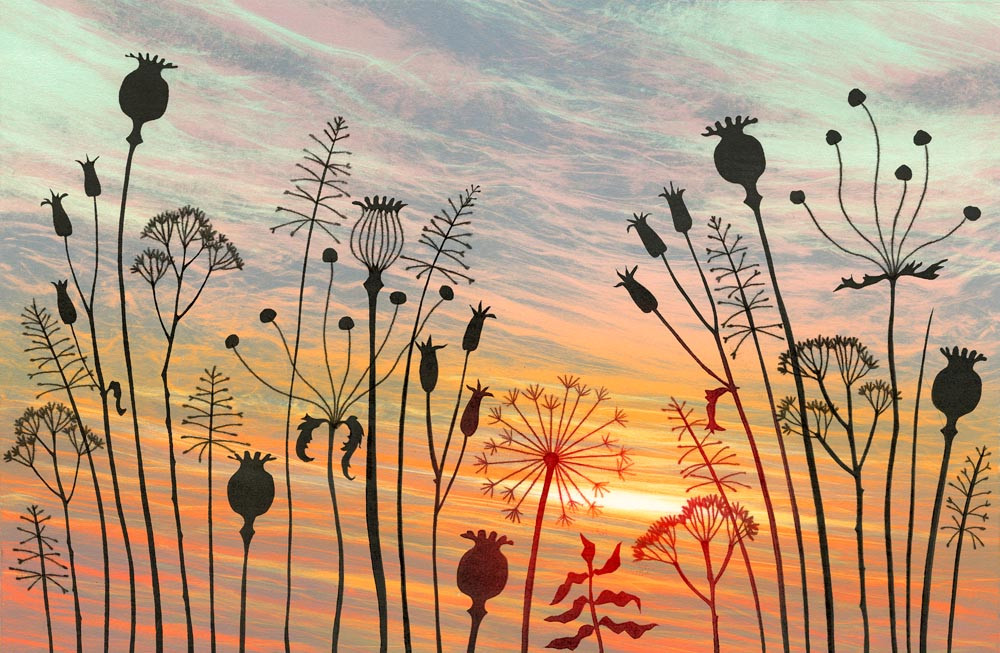 Rebecca Vincent monotype winter seed heads silhouettes sunset back light