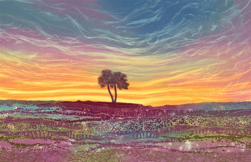 Painting print Rebecca Vincent North York Moors Egton High Moor lone tree Yorkshire heather