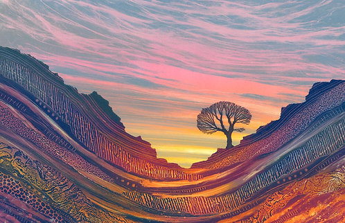Early Riser landscape monotype painting by Northumberland artist Rebecca Vincent lone tree sunrise pink purple blue