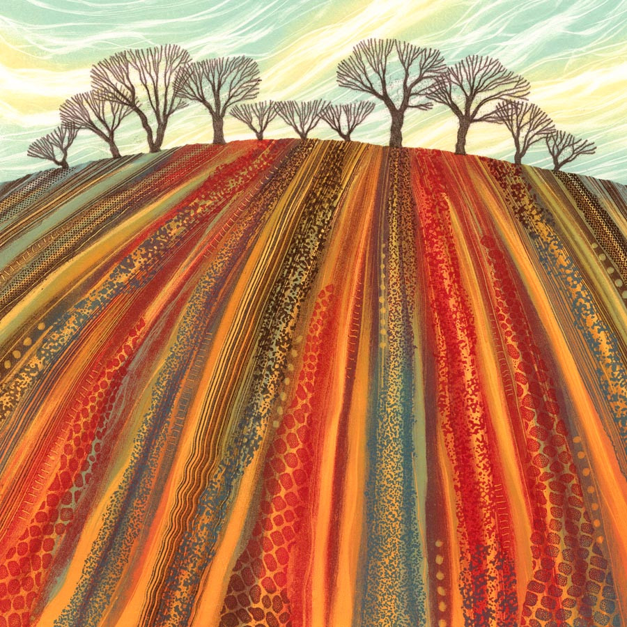 Red Earth ploughed field trees abstract landscape Northumberland artist Rebecca Vincent