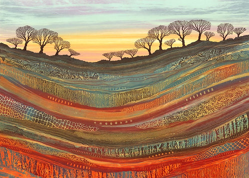 Rebecca Vincent tree line painting geology patterns red blue red earth Northumberland art