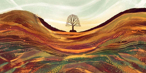 Sycamore Gap Northumberland landscape painting art print by UK artist Rebecca Vincent Robin Hood's Tree Hadrian's Wall framed