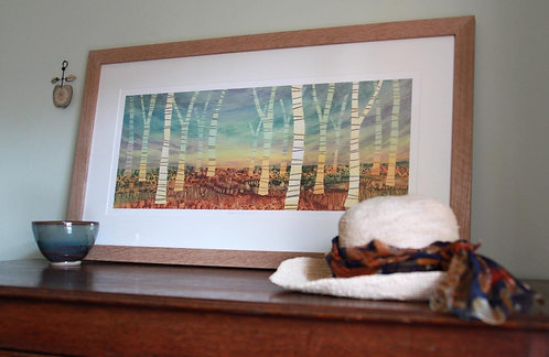 March of the Birch framed print by Rebecca Vincent living room