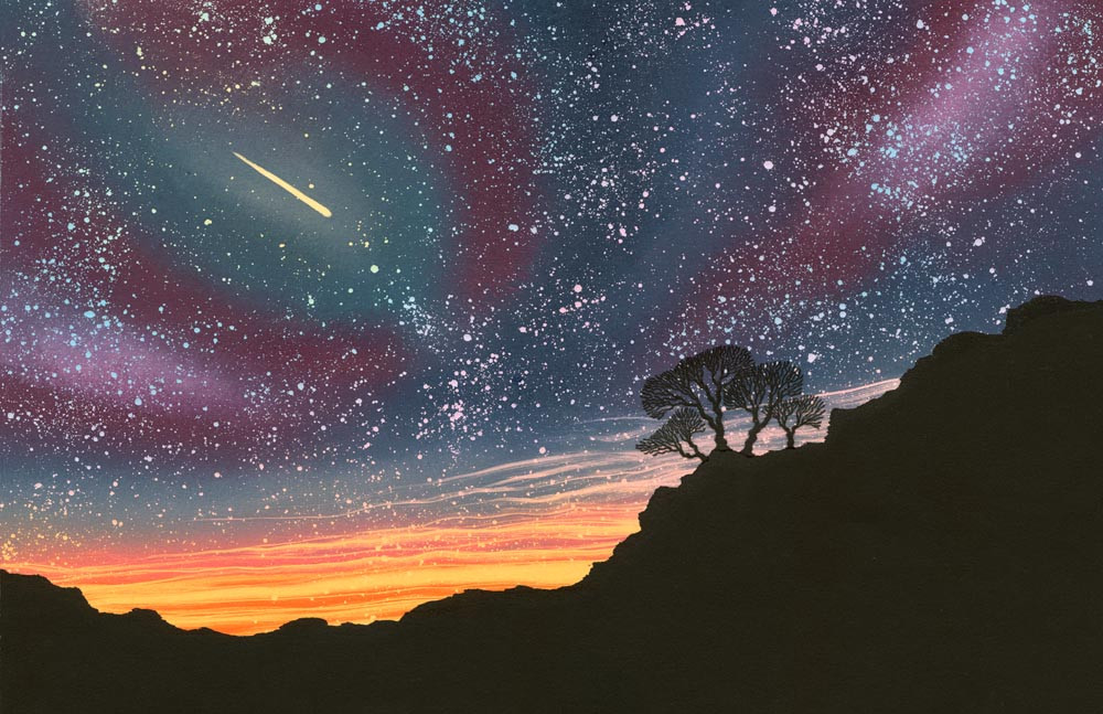 Night sky painting with stars comet trees craggy hillside by Rebecca Vincent