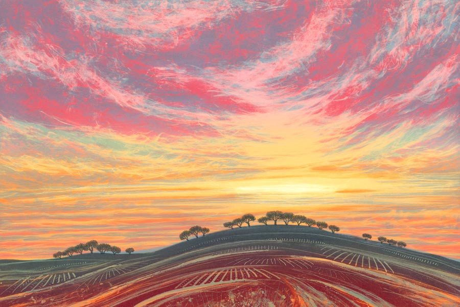 Rebecca Vincent monotype sunset sky landscape painting