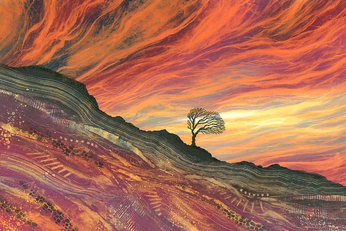 Lone tree firey sunset landscape art print purple orange black Rebecca Vincent Northumberland artist