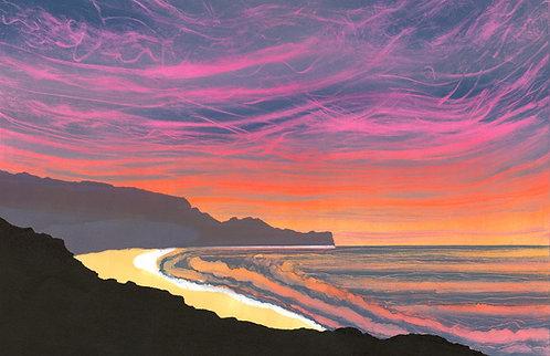 Rebecca Vincent painting seascape dawn sea Sandsend Yorkshire coast