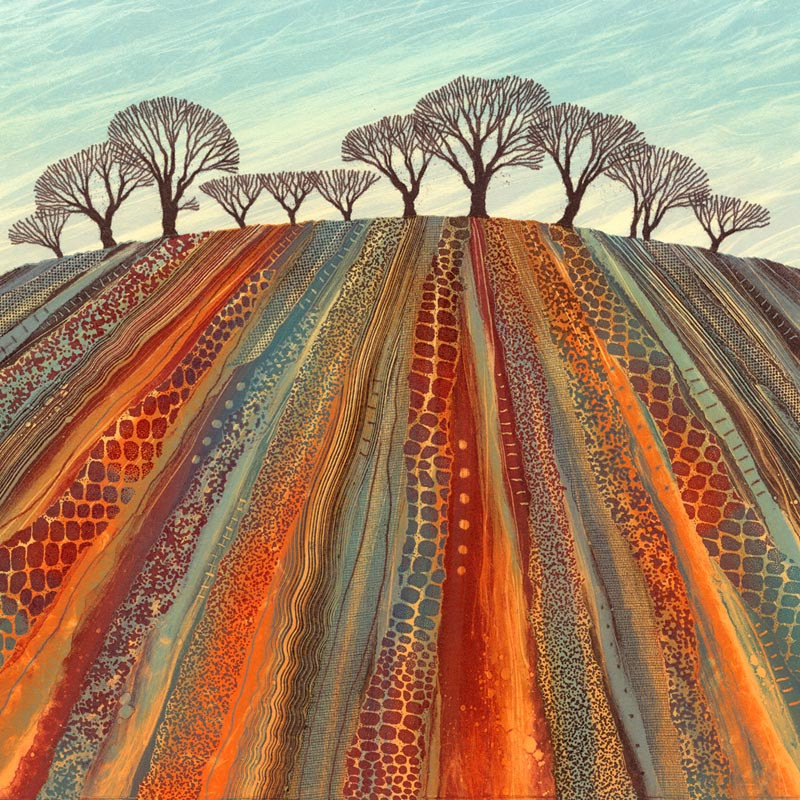 Ploughed Field landscape painting by Northumberland artist Rebecca Vincent monoprinting
