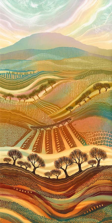 Rebecca Vincent landscape painting art Northumberland autumn colours patchwork fields trees patterns