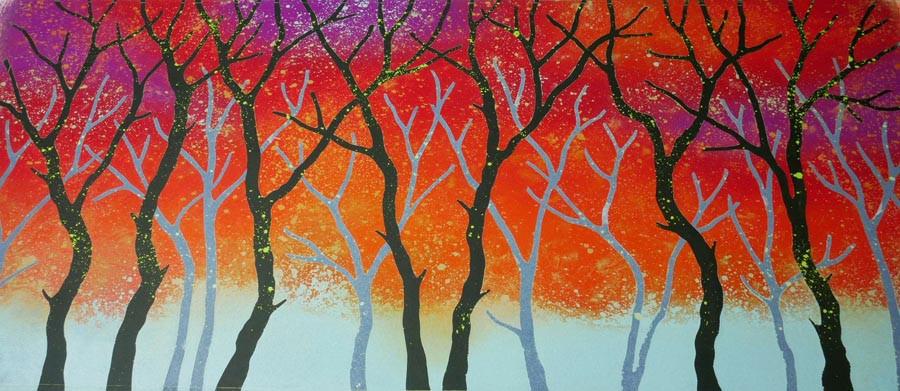 Rebecca Vincent Lancashire colourful woodland art