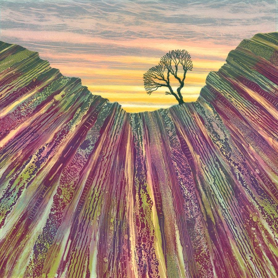 Crag's Edge lone tree north york moors yorkshire landscape painting Rebecca Vincent art