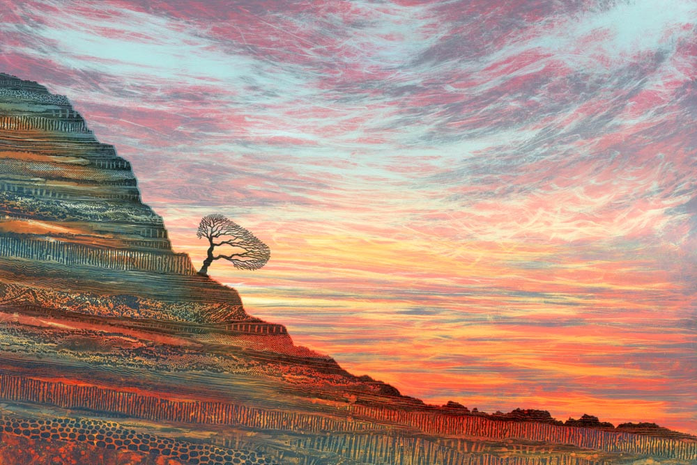 Sunset painting monotype by Northumberland artist Rebecca Vincent lone tree