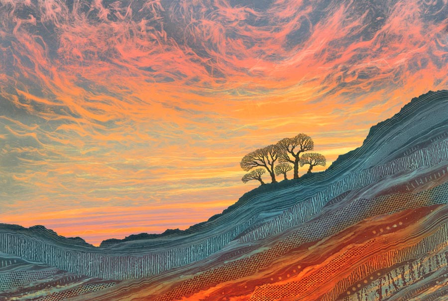 Rebecca Vincent sunset painting Northumberland art