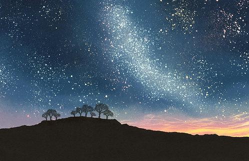 Starry Night print by UK Northumberland artist Rebecca Vincent night sky stars milky way tree silhouettes