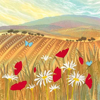 Summer Blues monotype painting by UK landscape art Rebecca Vincent poppies daisies summer blue butterflies colourful patterns textures
