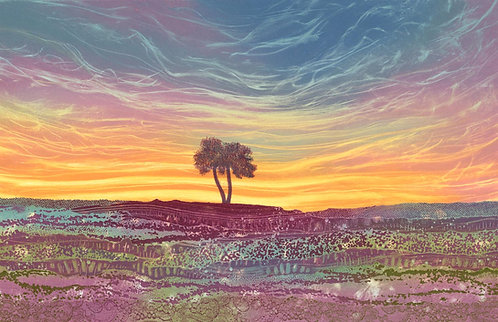 Glorious Isolation landscape print artist Rebecca Vincent North Yorkshire Moors lone tree Egton High Moor Bridge heather