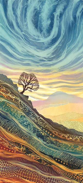 Rebecca Vincent landscape painting lone tree Yorkshire