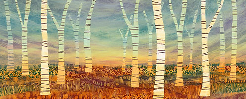 March of the Birch trees by UK landscape painter Rebecca Vincent