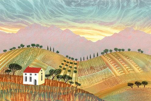 Italian Landscape original monotype mounted