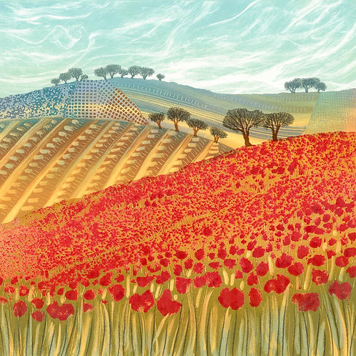 Patchwork Poppies greetings card by Northumberland artist Rebecca Vincent poppy fields