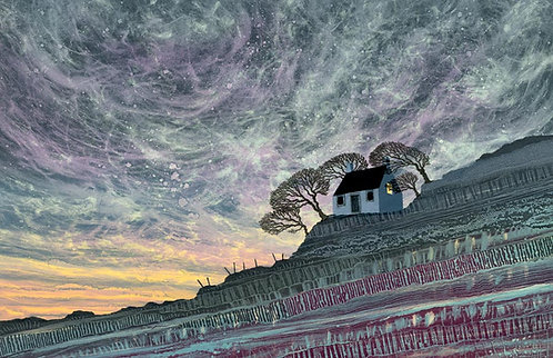 Yorkshire stormy landscape Wuthering Heights painting Bronte country Yorkshire Rebecca Vincent