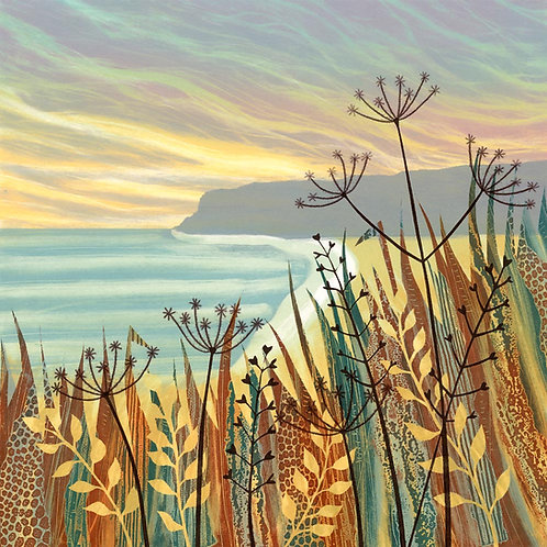 Hidden Sands greetings card by UK artist printmaker Rebecca Vincent seed heads coast