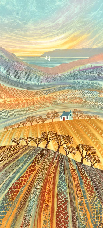 Rebecca Vincent patchwork landscape painting Northumberland rural farmland fields trees