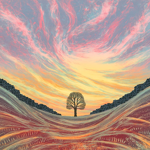 Sunset Sycamore Gap Northumberland art print Rebecca Vincent artist Hadrian's Wall Robin Hoods Tree
