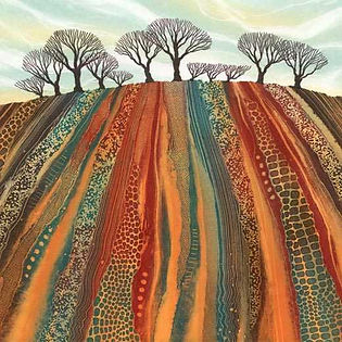 Blank greetings cards by Northumberland artists Rebecca Vincent plouged field trees farming rural scene