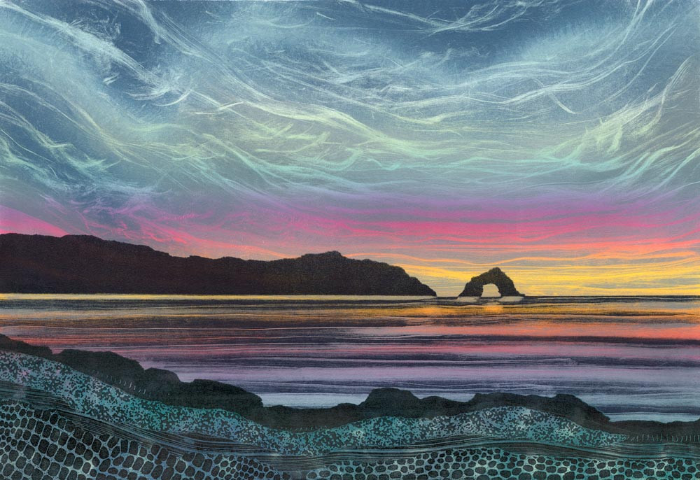 Rebecca Vincent landscape painting UK. Sea arch at sunset, eye of the needle, colours reflected in the sea