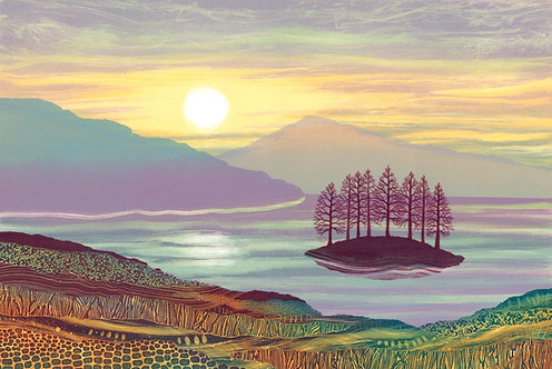 Last Stand art print Rebecca Vincent artist Ullswater Lake District UK island trees hills