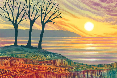 A Perfect Moment by British artist Rebecca Vincent sea sunset trees colourful