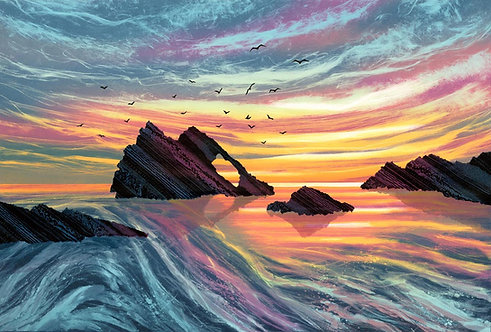 Guiding Light Bow Fiddle Rock Portknockie  Scotland coast print UK artist Rebecca Vincent sunset sunrise pink blue gold rocks