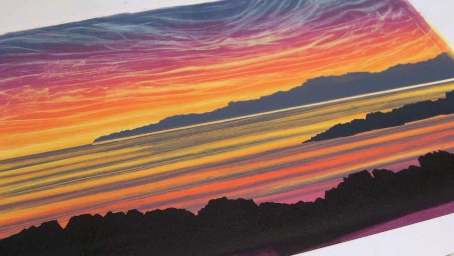 Sunset coastline Rebecca Vincent art monotype